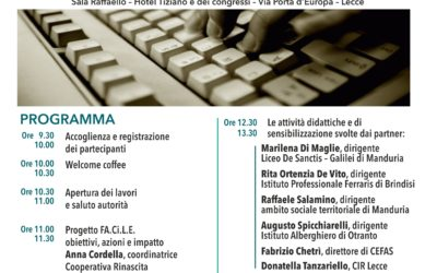 SEMINARIO FINALE DI PROGETTO – FA.CI.LE – 30 Maggio 2018 – Sala Raffaello Hotel Tiziano e dei congressi – Lecce